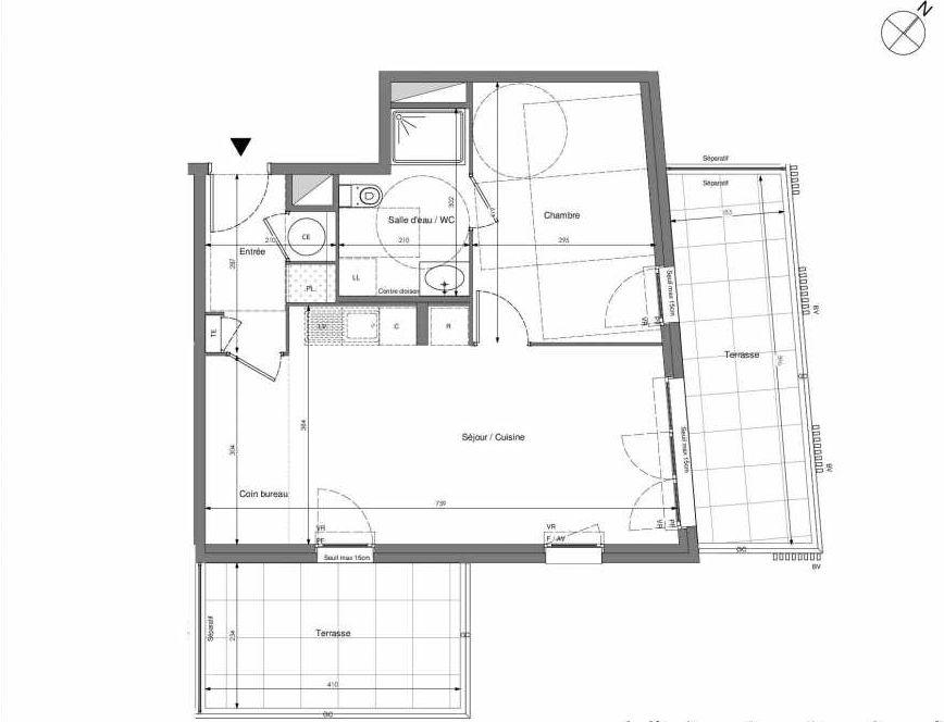 Plan B302, appartement neuf type T2 au 3ème étage, orienté Est faisant 48m² du programme neuf Impulsion à Marseille.