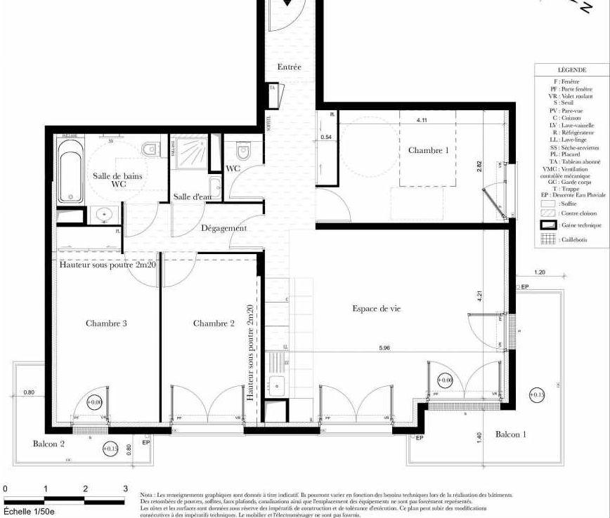 Plan B302, appartement neuf type T4 au 3ème étage, orienté Est faisant 82m² du programme neuf Symbiose à Bezons.