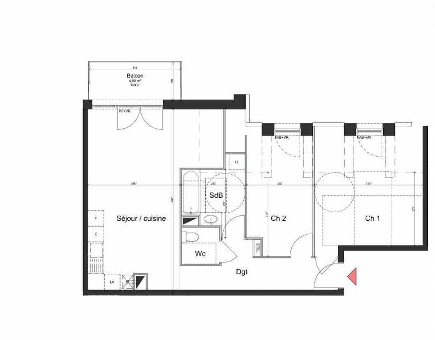 Plan B302, appartement neuf type T3 au 3ème étage, orienté Nord faisant 62m² du programme neuf Villa Bihorel à Bihorel.