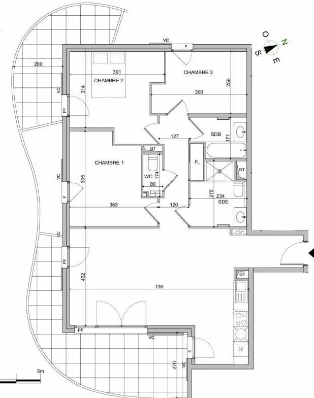 Plan B303, appartement neuf type T4 au 3ème étage, orienté Sud faisant 86m² du programme neuf Absolu à Mandelieu-la-Napoule.