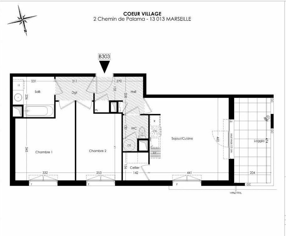 Plan B303, appartement neuf type T3 au 3ème étage, orienté Ouest faisant 60m² du programme neuf Coeur Village à Marseille.