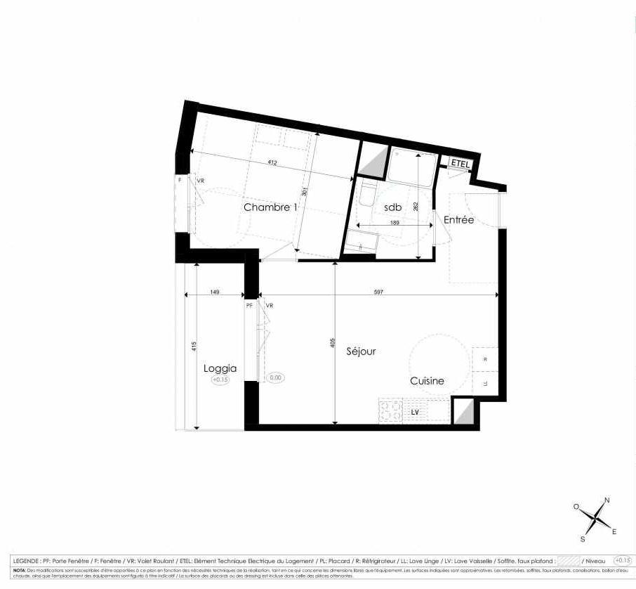 Plan B303, appartement neuf type T2 au 3ème étage, faisant 44m² du programme neuf Les Jardins d'Arc à Amiens.