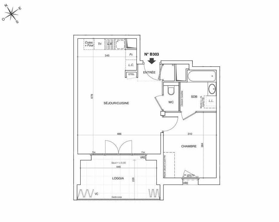 Plan B303, appartement neuf type T2 au 3ème étage, faisant 49m² du programme neuf NOVA à Annemasse.