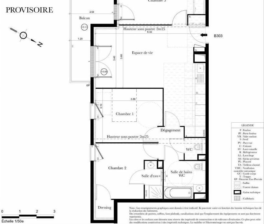Plan B303, appartement neuf type T4 au 3ème étage, orienté Sud faisant 73m² du programme neuf Symbiose à Bezons.