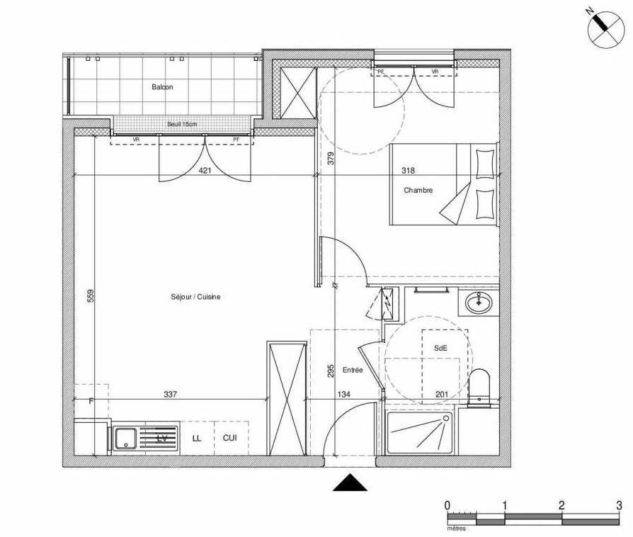 Plan B304, appartement neuf type T2 au Rez de chaussée, faisant 44m² du programme neuf 12 Liberty à Chennevières-sur-Marne.
