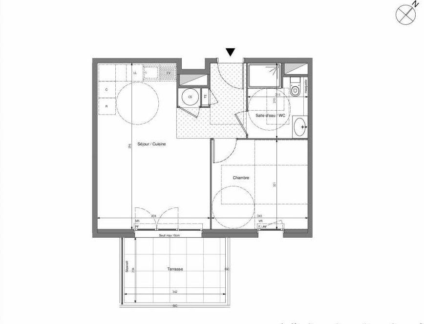 Plan B304, appartement neuf type T2 au 3ème étage, orienté Sud faisant 43m² du programme neuf Impulsion à Marseille.