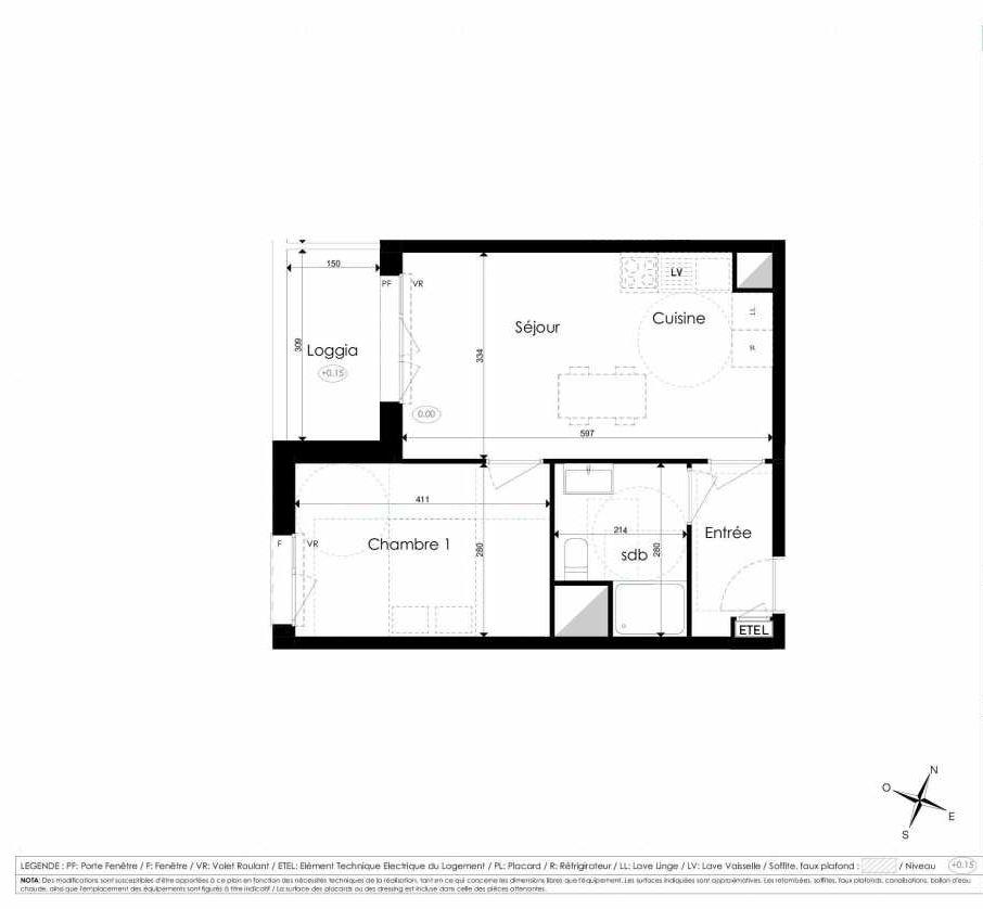 Plan B304, appartement neuf type T2 au 3ème étage, faisant 40m² du programme neuf Les Jardins d'Arc à Amiens.