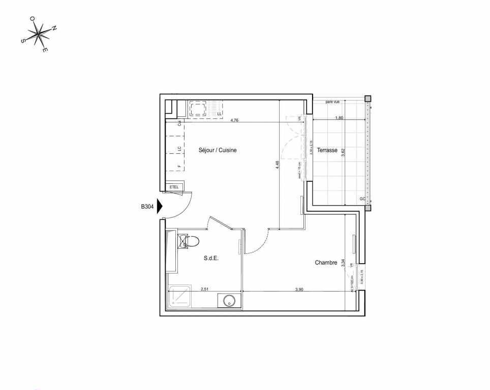 Plan B304, appartement neuf type T2 au 3ème étage, orienté Est faisant 39m² du programme neuf LES JARDINS DU CANAL à Arles.