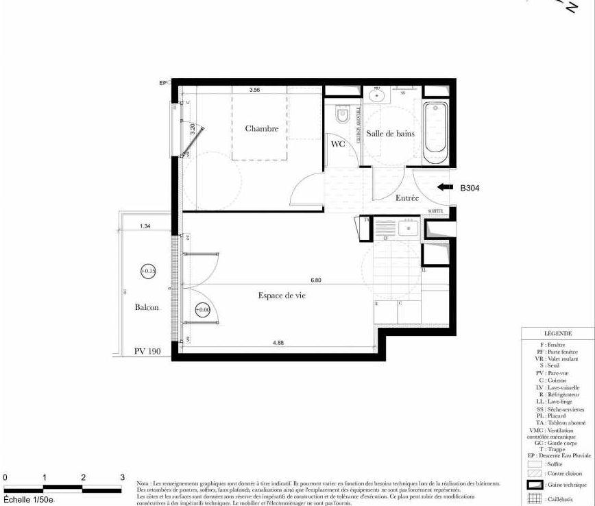 Plan B304, appartement neuf type T2 au 3ème étage, orienté Sud faisant 43m² du programme neuf Symbiose à Bezons.