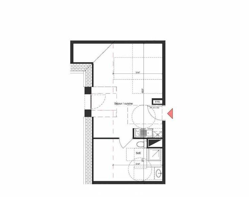 Plan B304, appartement neuf type T1 au 3ème étage, orienté Nord faisant 28m² du programme neuf Villa Bihorel à Bihorel.