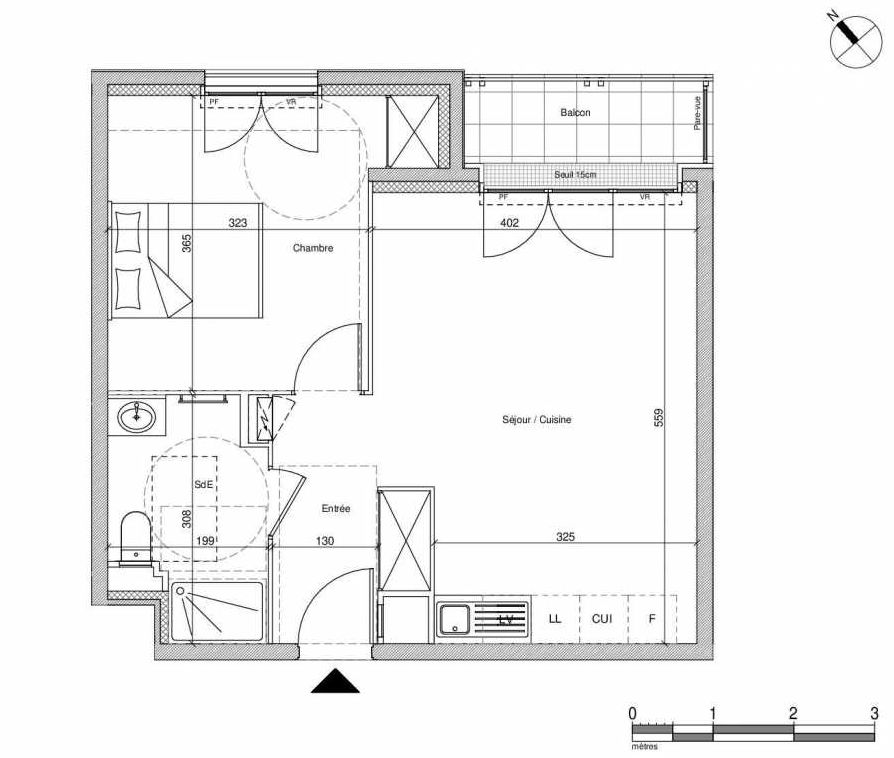 Plan B305, appartement neuf type T2 au Rez de chaussée, faisant 43m² du programme neuf 12 Liberty à Chennevières-sur-Marne.