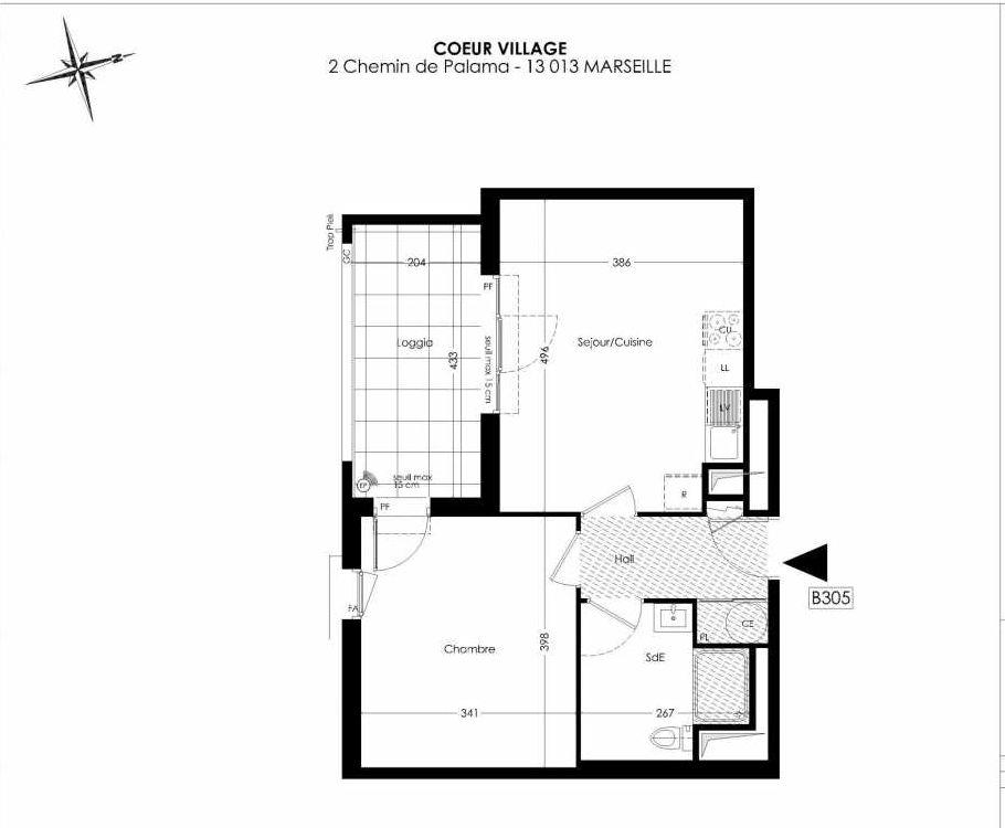 Plan B305, appartement neuf type T2 au 3ème étage, orienté Sud faisant 42m² du programme neuf Coeur Village à Marseille.