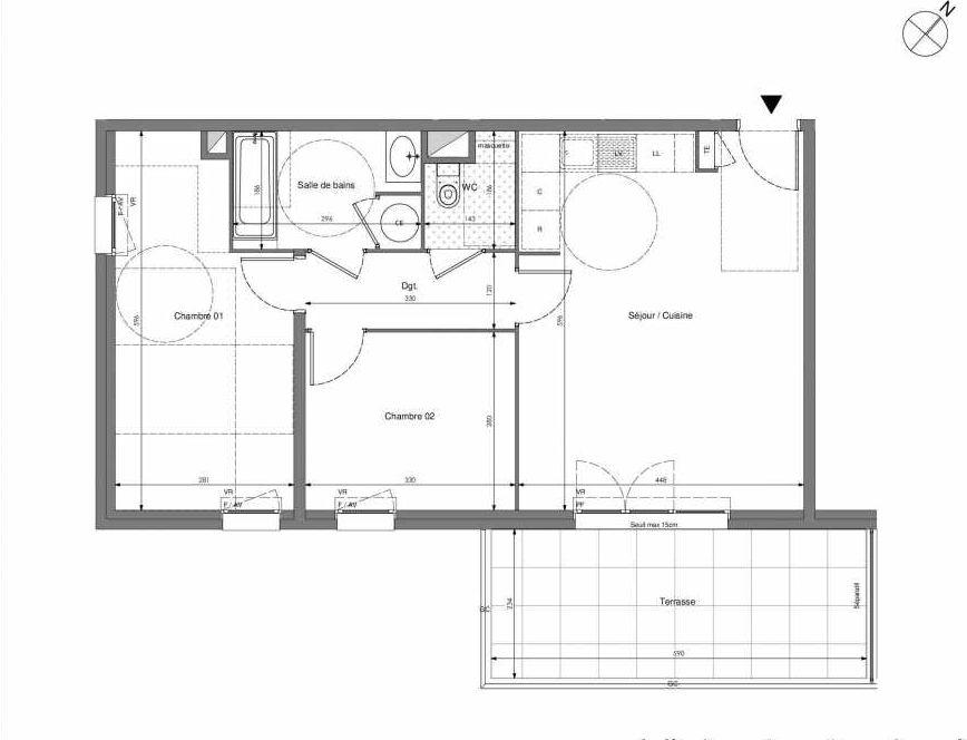 Plan B305, appartement neuf type T3 au 3ème étage, orienté Sud faisant 62m² du programme neuf Impulsion à Marseille.