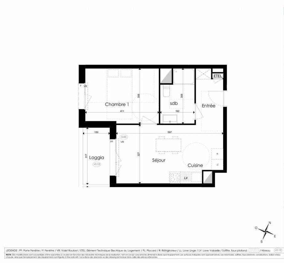 Plan B305, appartement neuf type T2 au 3ème étage, faisant 41m² du programme neuf Les Jardins d'Arc à Amiens.