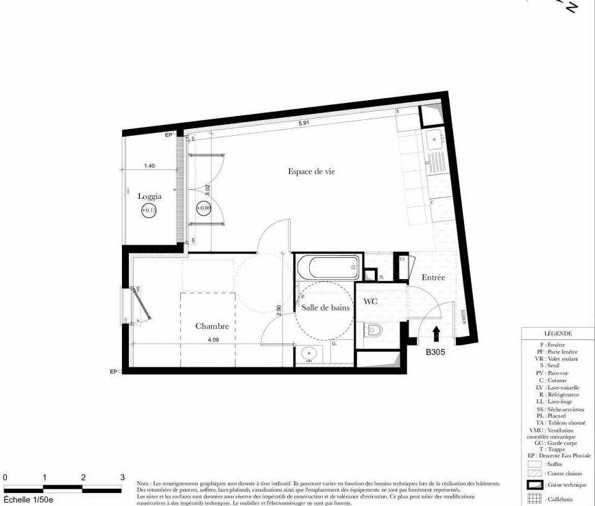 Plan B305, appartement neuf type T2 au 3ème étage, orienté Sud faisant 44m² du programme neuf Symbiose à Bezons.