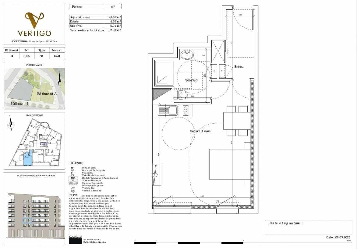 Plan B305, appartement neuf type T1 au 3ème étage, orienté Sud faisant 33m² du programme neuf Vertigo à Brest.