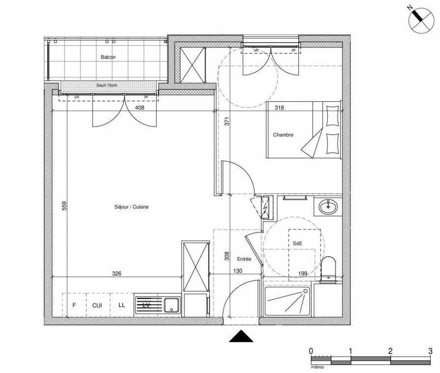 Plan B306, appartement neuf type T2 au Rez de chaussée, faisant 43m² du programme neuf 12 Liberty à Chennevières-sur-Marne.