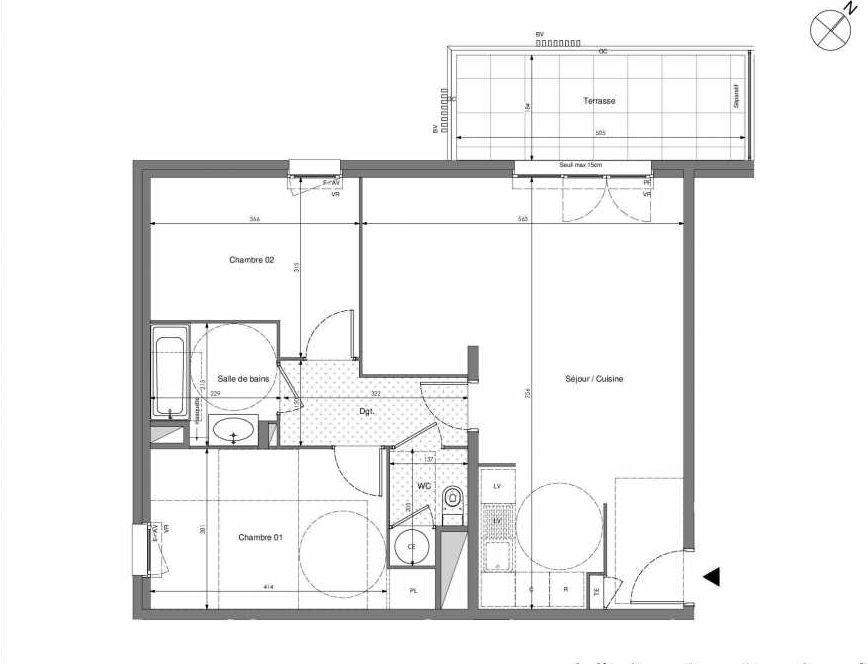 Plan B306, appartement neuf type T3 au 3ème étage, orienté Ouest faisant 67m² du programme neuf Impulsion à Marseille.
