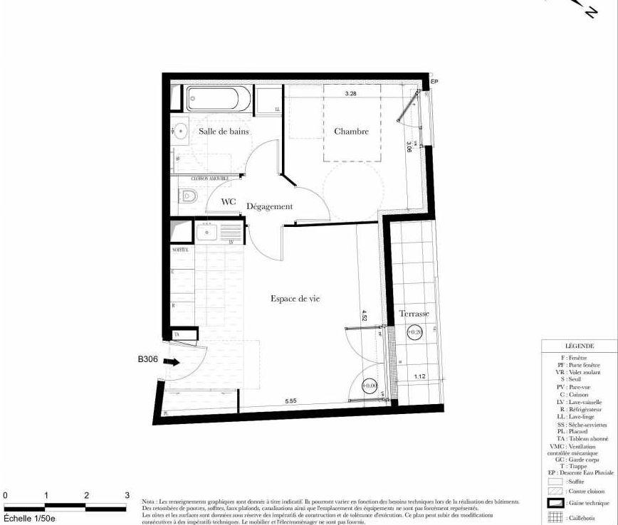 Plan B306, appartement neuf type T2 au 3ème étage, orienté Ouest faisant 43m² du programme neuf Symbiose à Bezons.