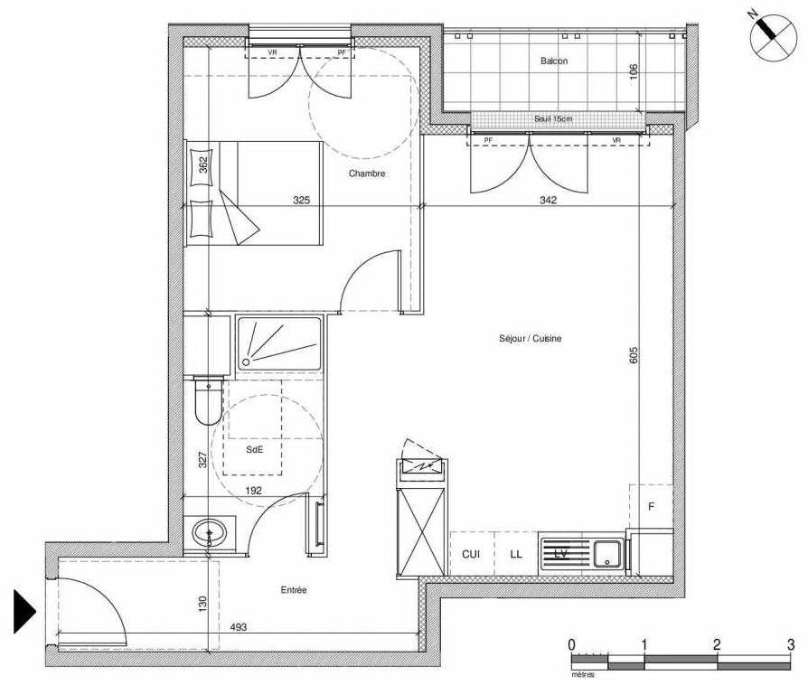 Plan B307, appartement neuf type T2 au Rez de chaussée, faisant 48m² du programme neuf 12 Liberty à Chennevières-sur-Marne.
