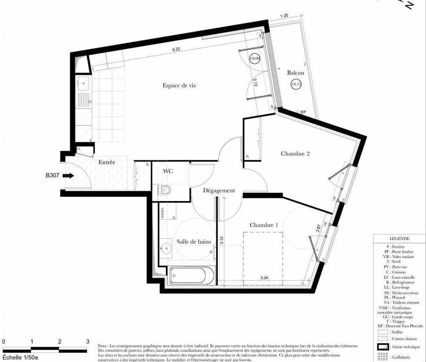 Plan B307, appartement neuf type T3 au 3ème étage, orienté Nord faisant 62m² du programme neuf Symbiose à Bezons.