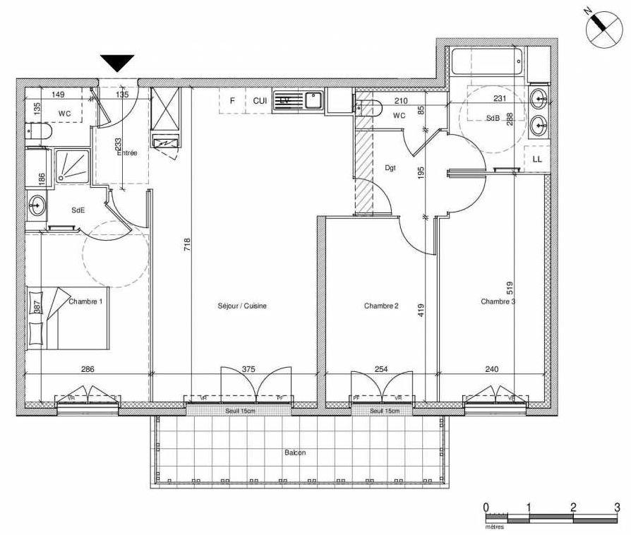 Plan B308, appartement neuf type T4 au Rez de chaussée, faisant 83m² du programme neuf 12 Liberty à Chennevières-sur-Marne.