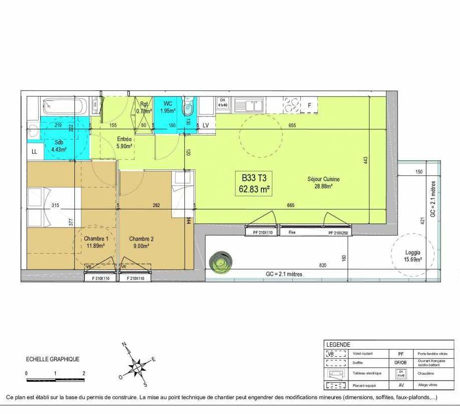 Plan B33, appartement neuf type T3 au 3ème étage, orienté Sud faisant 63m² du programme neuf LA CREATIVE à Tourcoing.