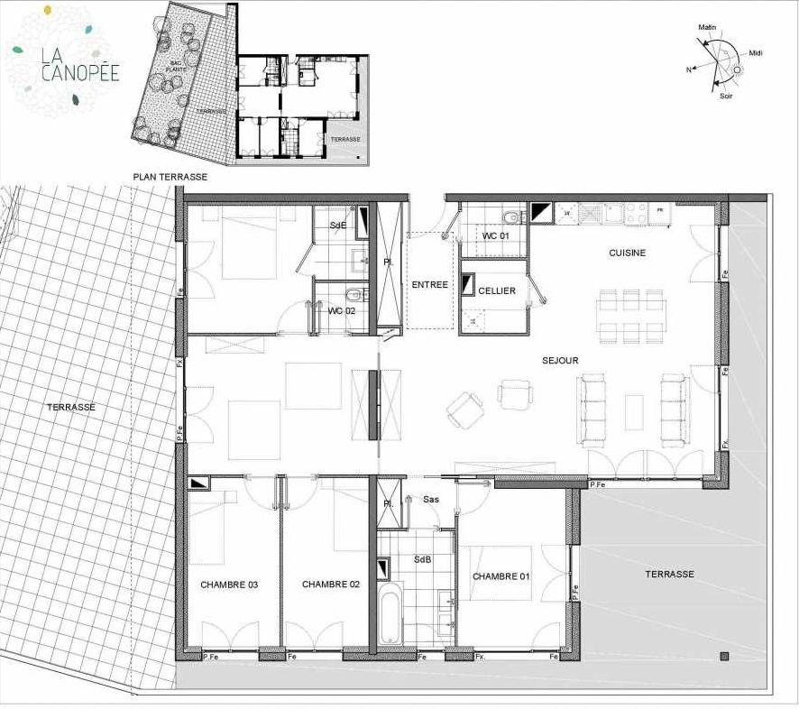 Plan B34, appartement neuf, orienté Nord faisant 132m² du programme neuf La Canopée à Amiens.