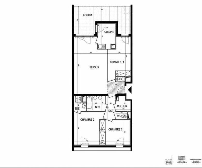 Plan B34, appartement neuf type T4 au 3ème étage, faisant 86m² du programme neuf Le 216 à Montpellier.