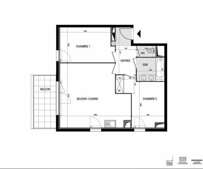Plan B39, appartement neuf type T3 au 4ème étage, faisant 60m² du programme neuf Le 216 à Montpellier.