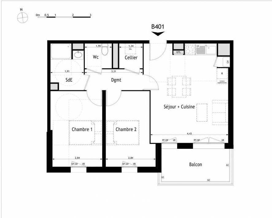 Plan B401, appartement neuf type T3 au 4ème étage, orienté Sud faisant 62m² du programme neuf Le Métropolitain à Villenave-d'Ornon.