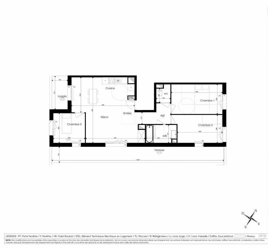 Plan B401, appartement neuf type T4 au 4ème étage, faisant 80m² du programme neuf Les Jardins d'Arc à Amiens.