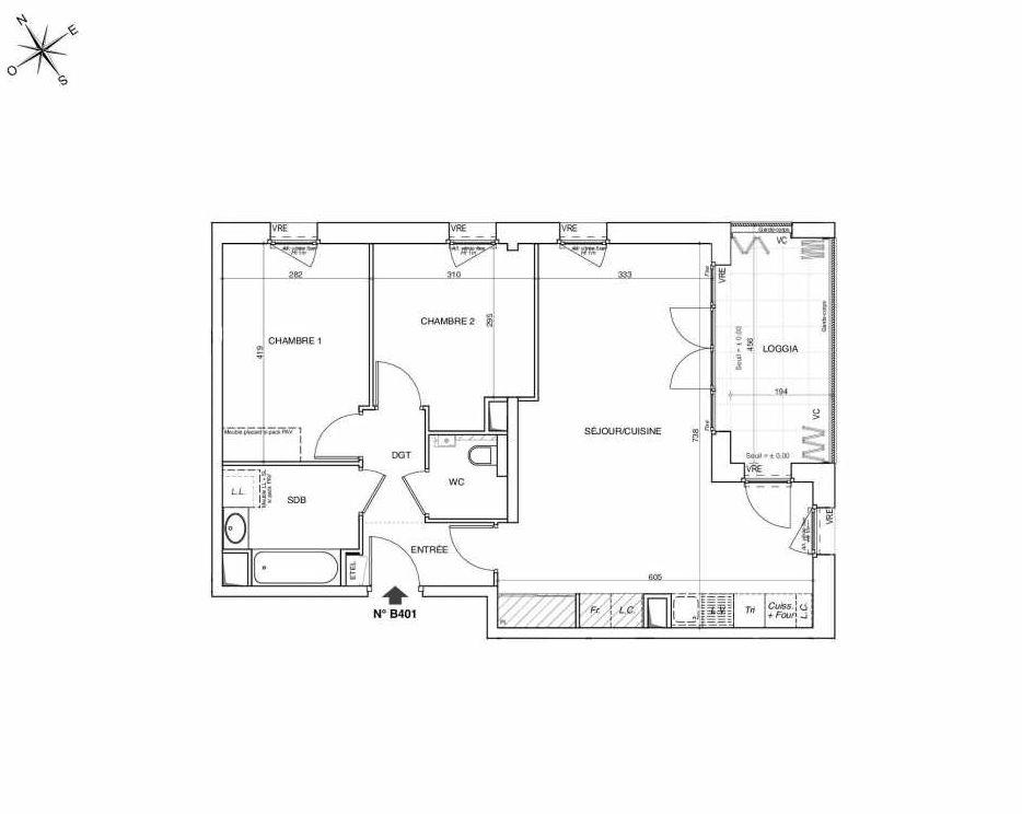 Plan B401, appartement neuf type T3 au 4ème étage, faisant 67m² du programme neuf NOVA à Annemasse.