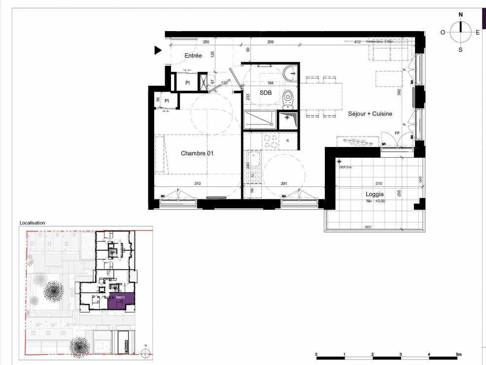 Plan B401, appartement neuf type T2 au 4ème étage, orienté Est faisant 45m² du programme neuf SESAME à Rennes.