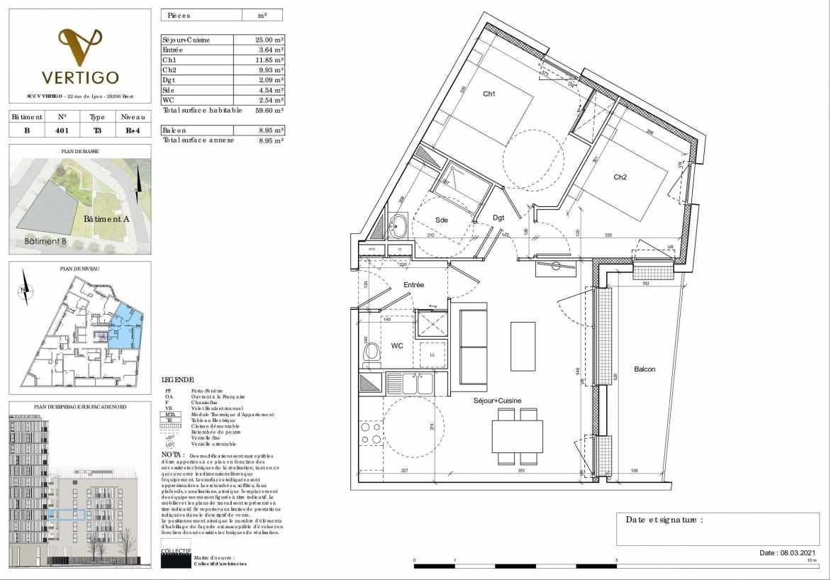 Plan B401, appartement neuf type T3 au 4ème étage, orienté Est faisant 60m² du programme neuf Vertigo à Brest.