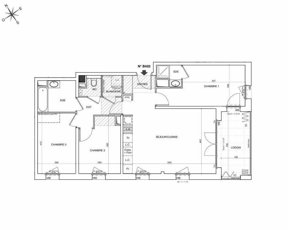 Plan B402, appartement neuf type T4 au 4ème étage, faisant 83m² du programme neuf NOVA à Annemasse.