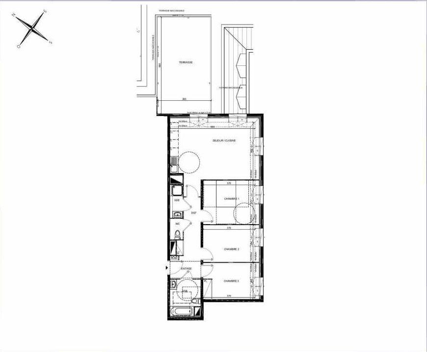 Plan B402, appartement neuf type T4 au 4ème étage, orienté Nord faisant 76m² du programme neuf PASTELS à Villiers-sur-Marne.