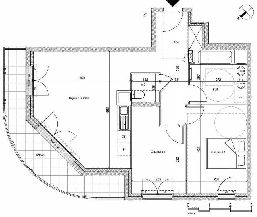 Plan B403, appartement neuf type T3 au Rez de chaussée, faisant 61m² du programme neuf 12 Liberty à Chennevières-sur-Marne.