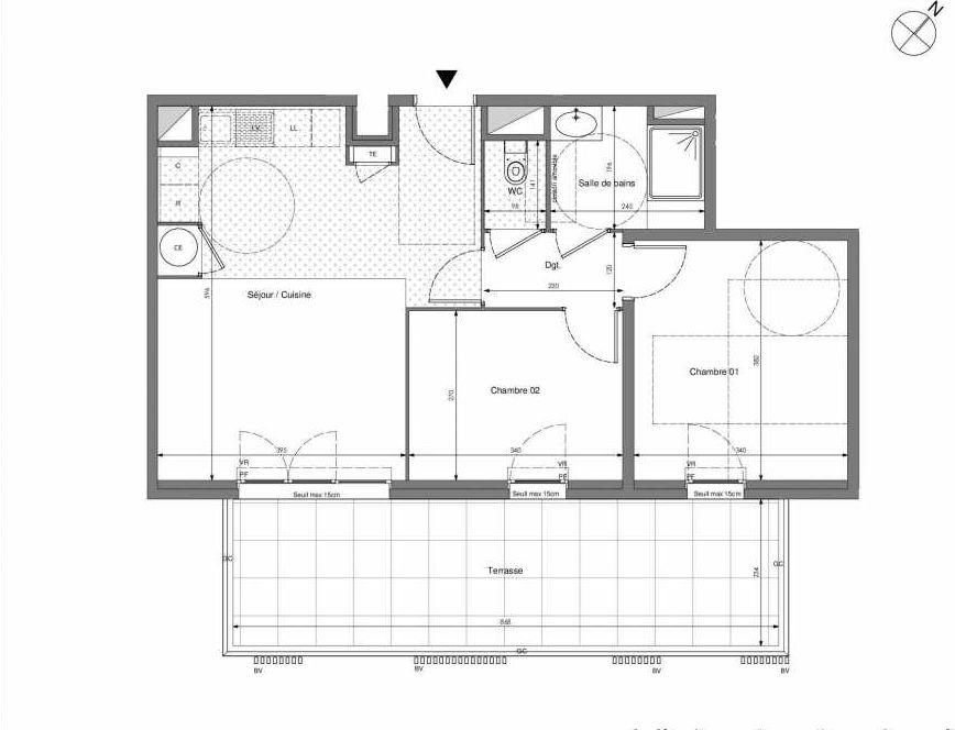 Plan B403, appartement neuf type T3 au 4ème étage, orienté Sud faisant 57m² du programme neuf Impulsion à Marseille.