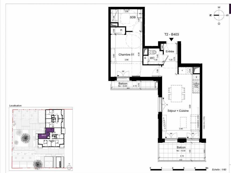 Plan B403, appartement neuf type T2 au 4ème étage, orienté Ouest faisant 45m² du programme neuf SESAME à Rennes.