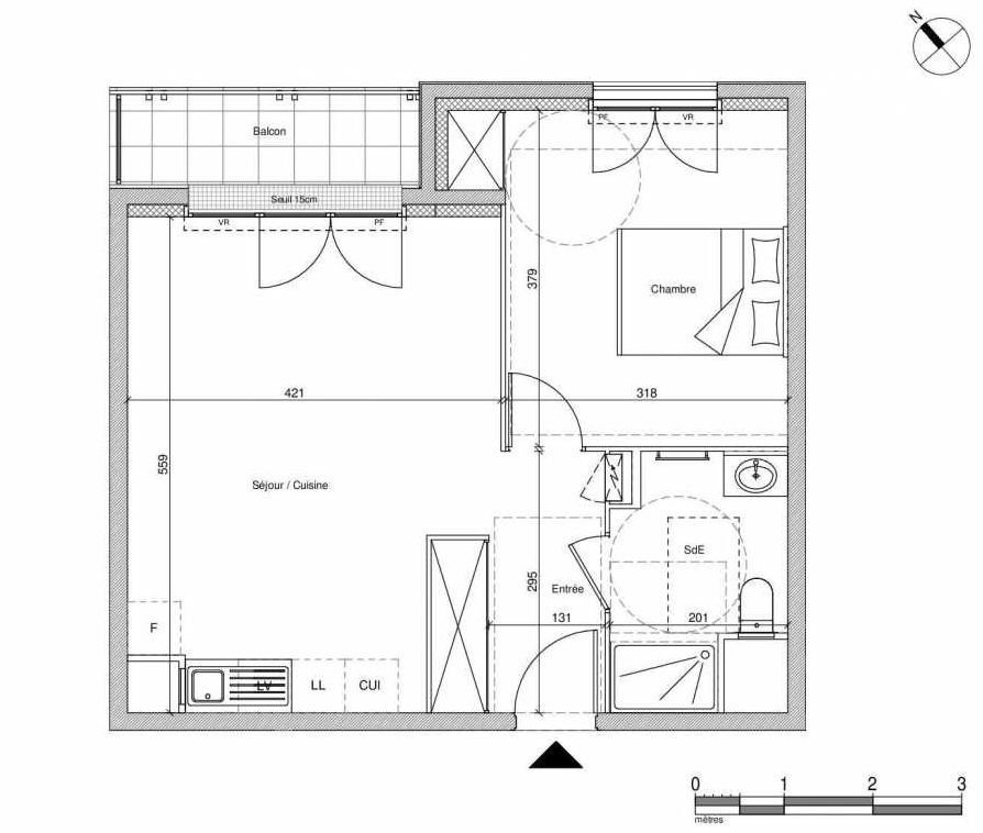 Plan B404, appartement neuf type T2 au Rez de chaussée, faisant 44m² du programme neuf 12 Liberty à Chennevières-sur-Marne.