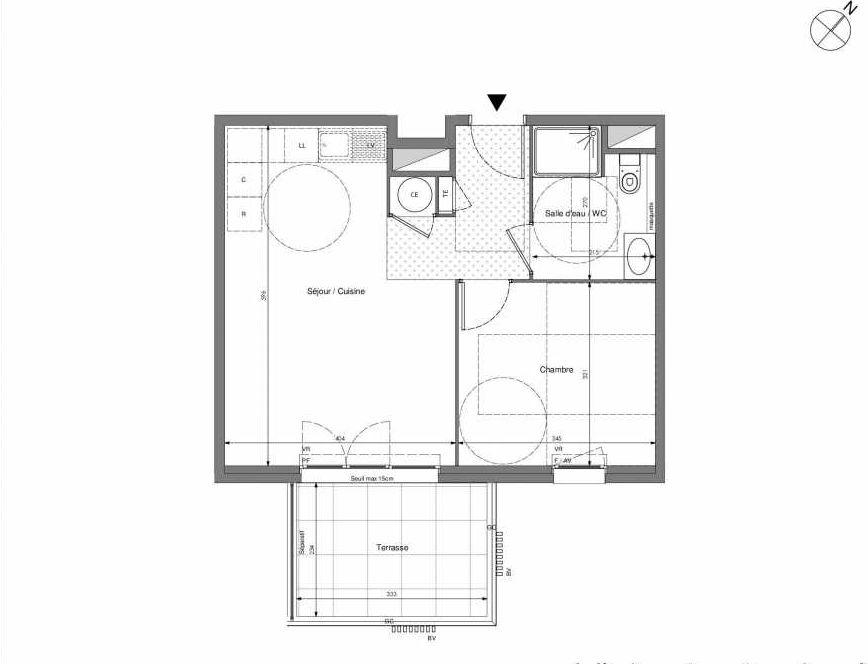 Plan B404, appartement neuf type T2 au 4ème étage, orienté Sud faisant 43m² du programme neuf Impulsion à Marseille.