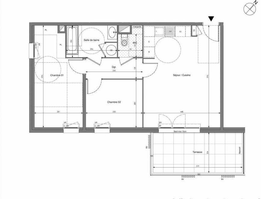 Plan B405, appartement neuf type T3 au 4ème étage, orienté Sud faisant 62m² du programme neuf Impulsion à Marseille.
