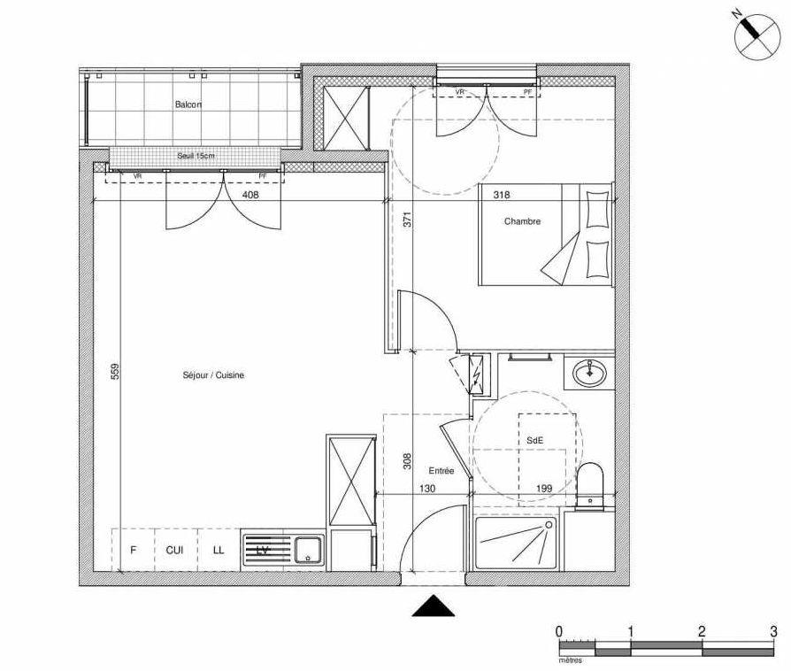 Plan B406, appartement neuf type T2 au Rez de chaussée, faisant 43m² du programme neuf 12 Liberty à Chennevières-sur-Marne.