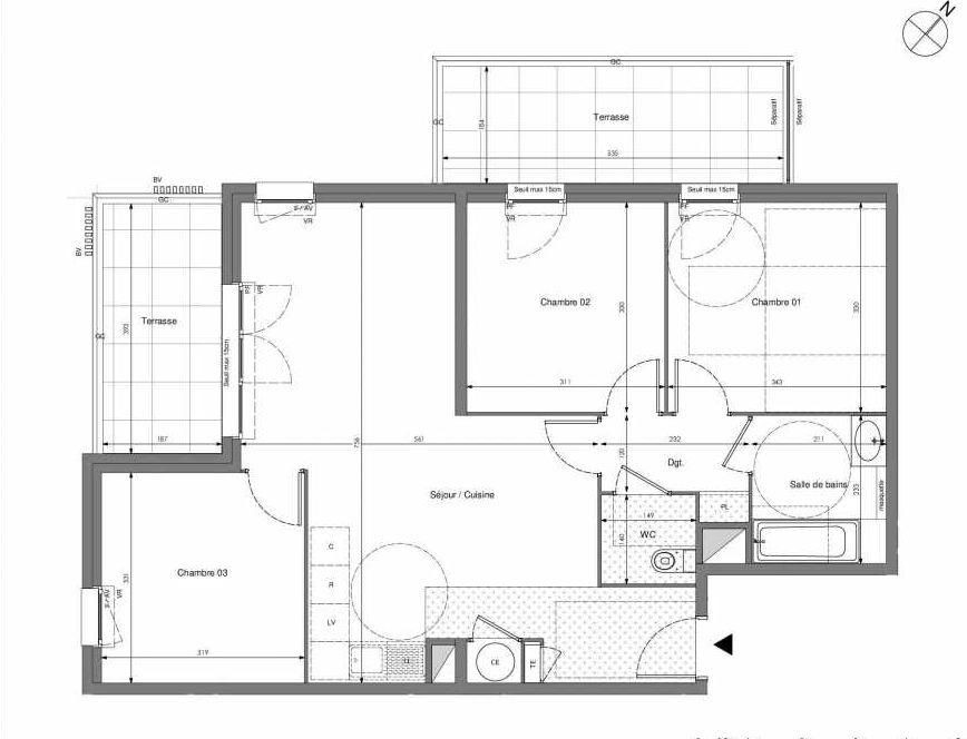 Plan B406, appartement neuf type T4 au 4ème étage, orienté Sud faisant 75m² du programme neuf Impulsion à Marseille.