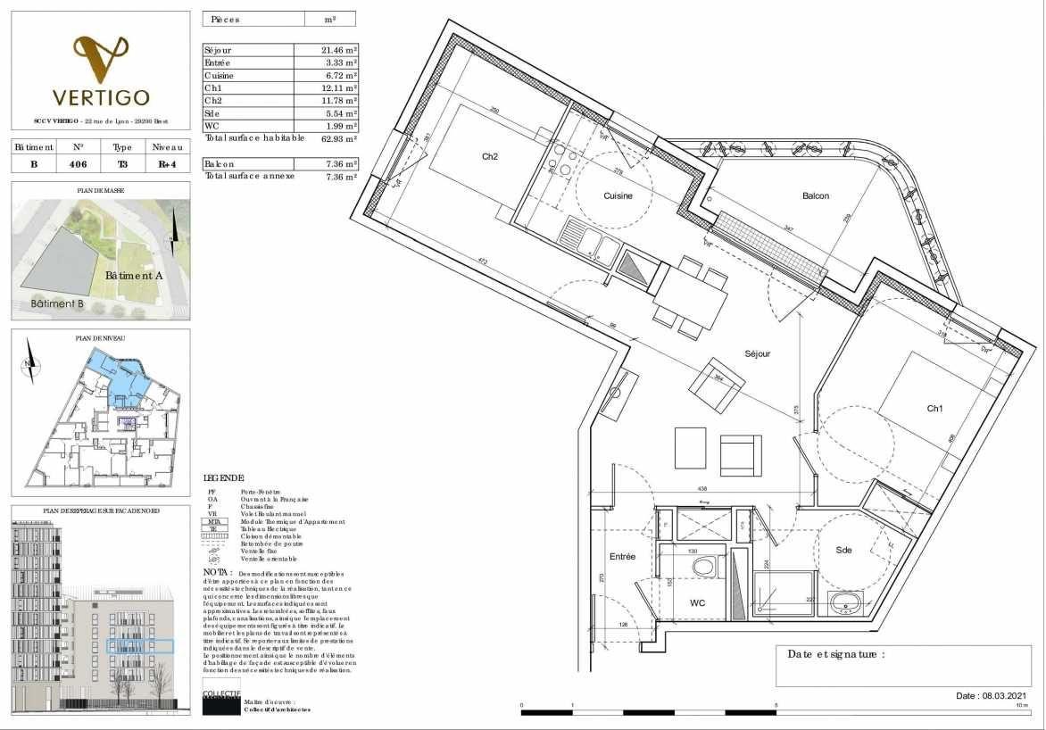 Plan B406, appartement neuf type T3 au 4ème étage, orienté Nord faisant 63m² du programme neuf Vertigo à Brest.