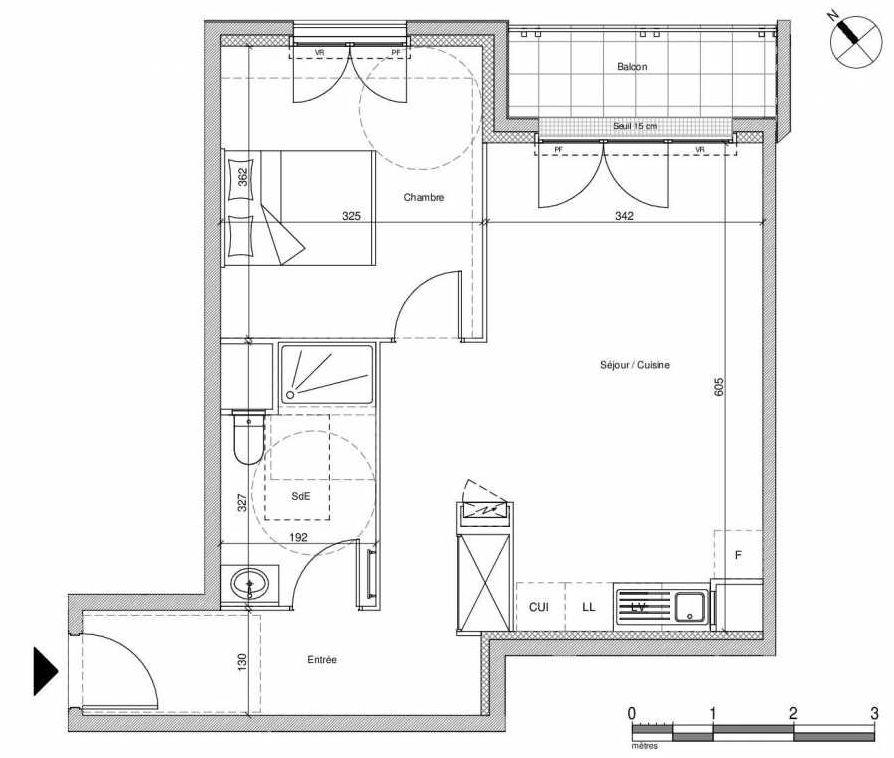 Plan B407, appartement neuf type T2 au Rez de chaussée, faisant 48m² du programme neuf 12 Liberty à Chennevières-sur-Marne.