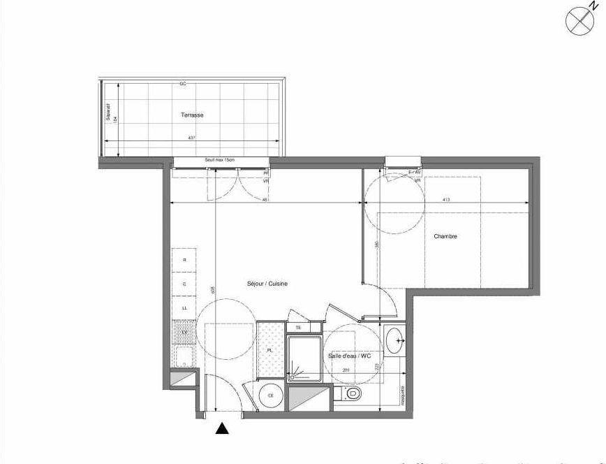 Plan B407, appartement neuf type T2 au 4ème étage, orienté Ouest faisant 43m² du programme neuf Impulsion à Marseille.