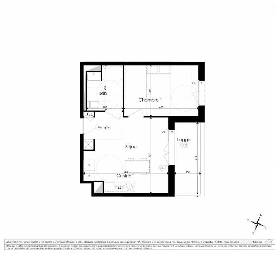 Plan B407, appartement neuf type T2 au 4ème étage, faisant 39m² du programme neuf Les Jardins d'Arc à Amiens.
