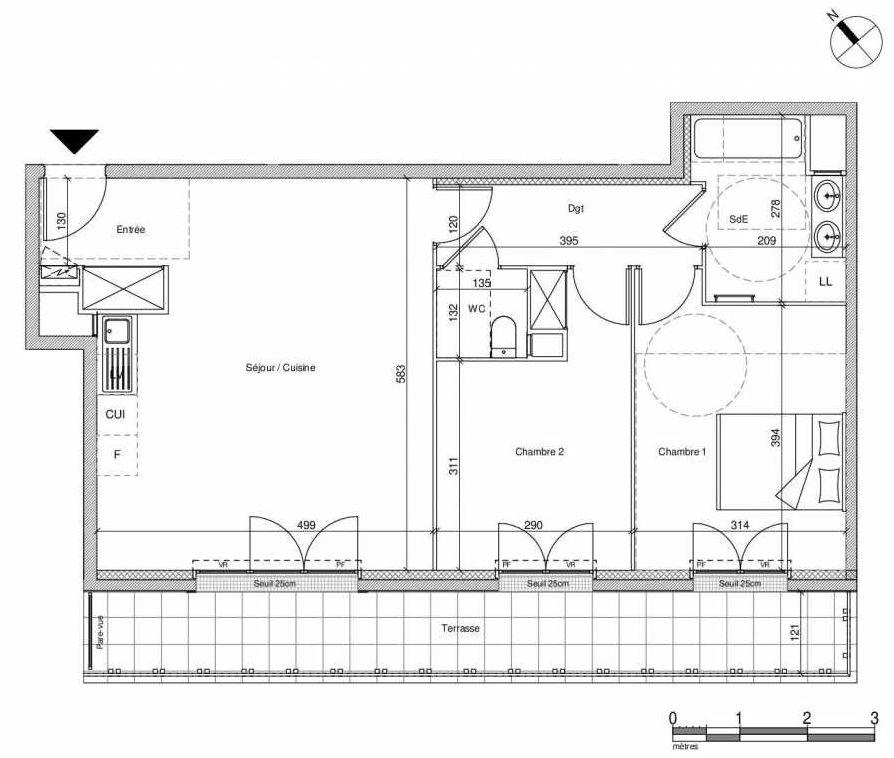 Plan B408, appartement neuf type T3 au Rez de chaussée, faisant 66m² du programme neuf 12 Liberty à Chennevières-sur-Marne.